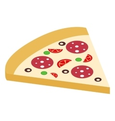 Salami pizza slice isometric 3d icon vector