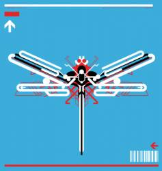 High tech robot dragonfly vector