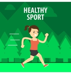 Outdoor sport girl running on the street vector