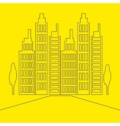 Set icons skyscrapers buildings vector