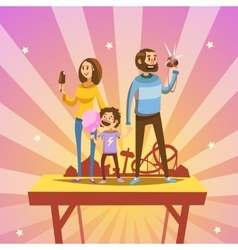 Family in amusement park vector