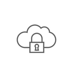 Cloud computing security line icon vector