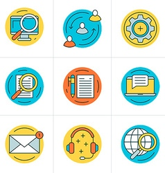 Thin line icon set flat style icons for website vector