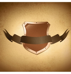 Shield over grunge background vector