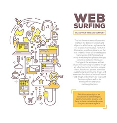 Creative concept of web surfing with header vector