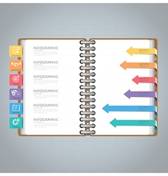 Business infographic with ring notebook arrow vector