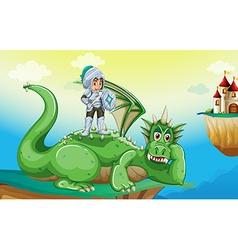 A boy above the dragon vector