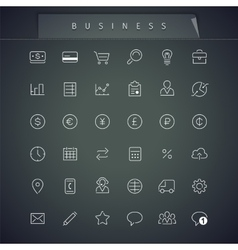 Business Thin Icons Set vector image