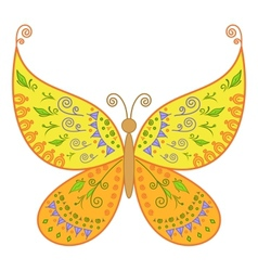 butterfly with floral pattern vector image vector image