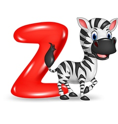 Cartoon of Z letter for Zebra vector image