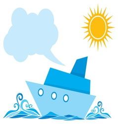 Cartoon ship on the sea vector image