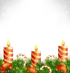 Christmas candles with balls candy and pine on vector