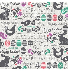 Easter ackground with bunny easter eggs flower vector