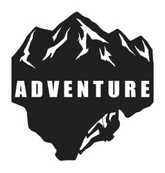 Extreme adventure climbing logo black and white vector