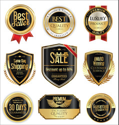Free shipping and luxury golden labels collection vector