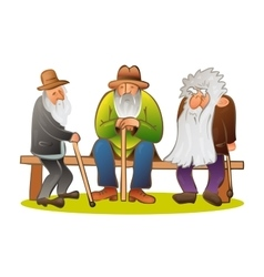 Funny three old mens sitting on the bench old man vector