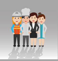 group of worker women employee people vector image