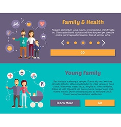 Health family and young family flat design concept vector