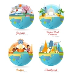 India Emirates Thailand Japan Travel Posters vector image vector image