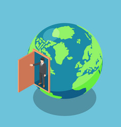 Isometric businessman come out inside the world vector