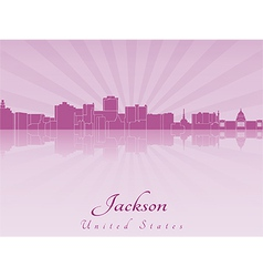 Jackson skyline in purple radiant orchid vector image