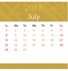 July 2018 calendar popular premium for business vector