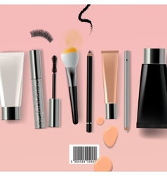 Makeup brush and cosmetics vector