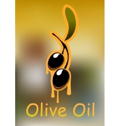 Oil poster with fresh black olives vector image