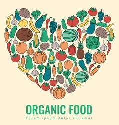 organic food fruits and vegetables healthy vector image