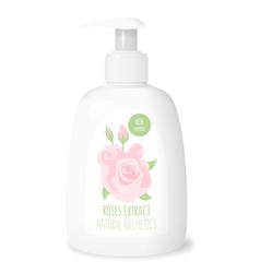 Rose cosmetics white bottle vector