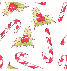 seamless pattern with christmas candy cane vector image