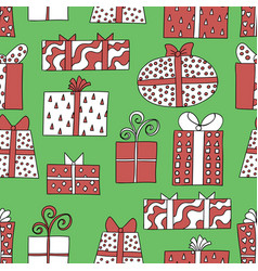 Seamless pattern with cute colored giftboxes vector
