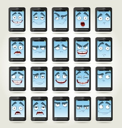 Set of smiles phones with different emotions vector