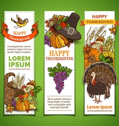 Set of thanksgiving vertical banners vector