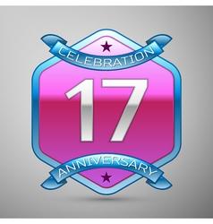 Seventeen years anniversary celebration silver vector