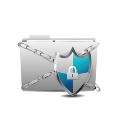 shield with folder vector image vector image