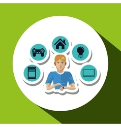 Social media with boy design over white background vector image