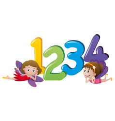 Two fairies and numbers one to four vector