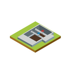 Water pipe installation isometric 3d icon vector