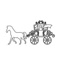 Wedding carriage isolated icon vector