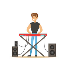 Young man playing electric piano vector