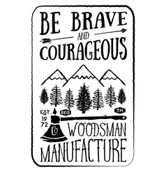 Lumberjack vintage label with axe and trees hand vector