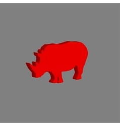 African rhinoceros on gray vector