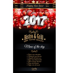 2017 Happy New Year Restaurant Menu Template vector image