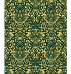 Damask seamless pattern with owl silhouette vector