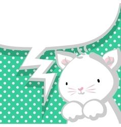 White cute little kitty marine backdrop vector