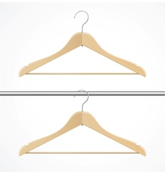 Coat hanger wood isolated on white vector