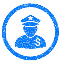 Financial policeman rounded grainy icon vector