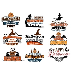Colorful set of happy halloween designs vector