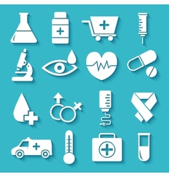 Flat medical equipment set in shape heart icons vector